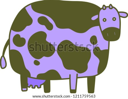 Cute Colorful cow silhouette illustration