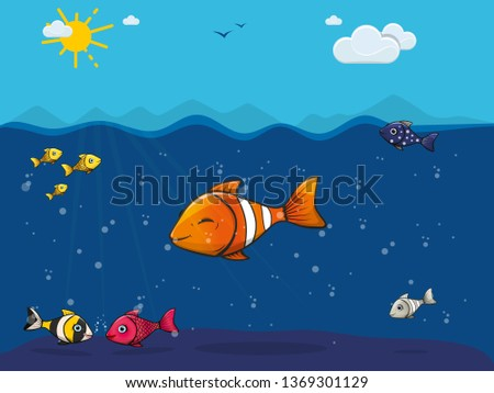 cute colorful fish underwater in the sea, clown fish, goldfish, striped, girls and boys, blue water, blue sky, sun, clouds and birds, silhouettes of mountains