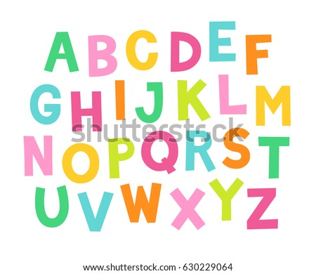 Cute Colorful Hand Drawing Alphabet