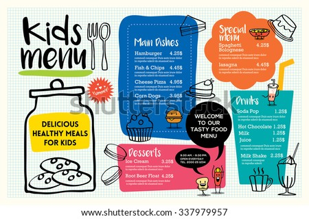 Cute colorful kids meal menu placemat design vector template