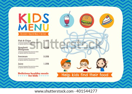 cute colorful kids meal menu