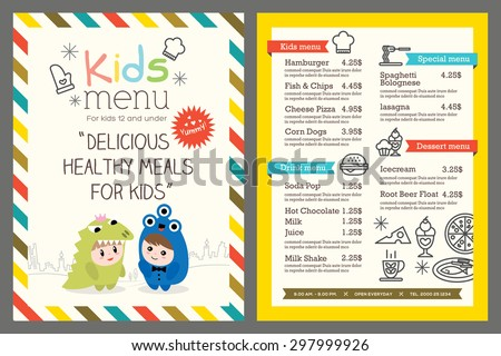 cute colorful kids meal menu