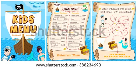 Cute colorful kids meal menu with pirates.