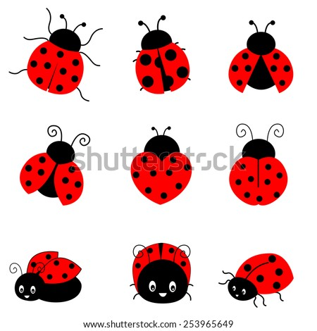 cute colorful ladybugs clip art