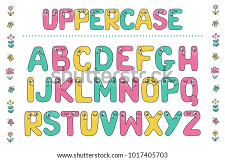 Cute Colorful Letters From Kids Alphabet With Eyes Funny Font Cartoon Vector Illustration On