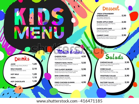 Kids menu templates download free vector art stock graphics cute colorful meal kids menu template with brush strokes and colorful splashes pronofoot35fo Gallery