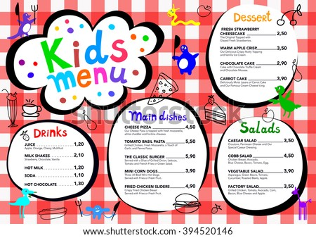Cute colorful kids menu template download free vector art stock cute colorful meal kids menu template with cute little monsters pronofoot35fo Gallery