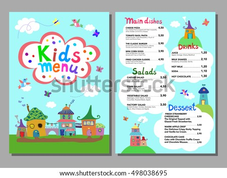 Kids menu templates download free vector art stock graphics cute colorful meal kids menu template with cute sweet village houses birds butterflies pronofoot35fo Gallery