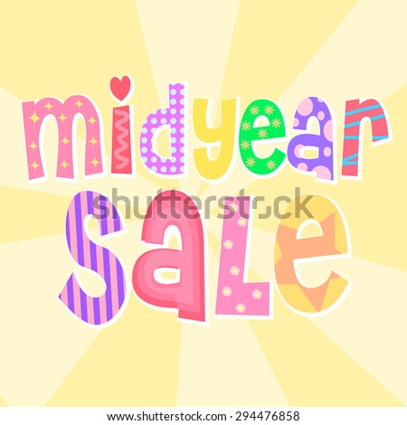 cute colorful midyear sale text
