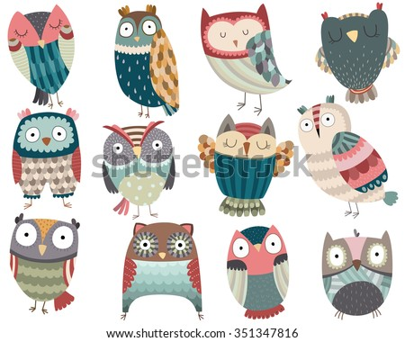 cute colorful owl friends