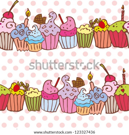 cute colorful pattern with cupcake