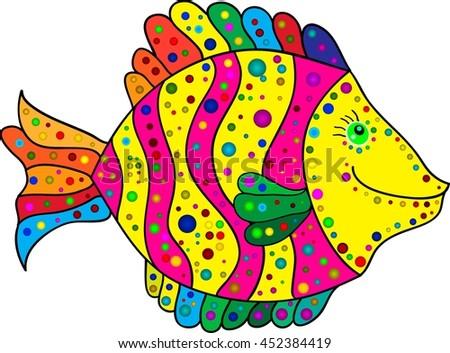 cute colorful stripes fish