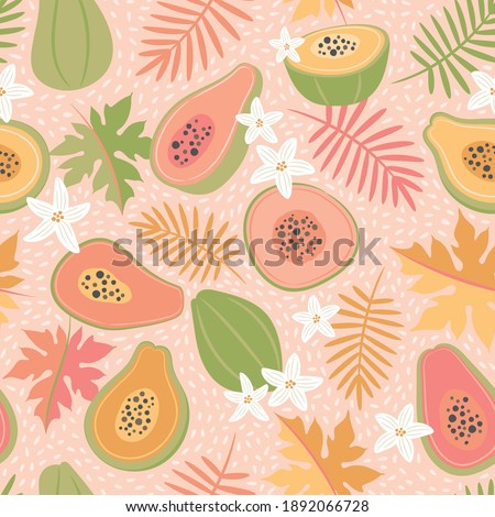 Cute, colourful papaya tropical fruit seamless vector pattern on a light pink background. Pink, green, gold leaves and fruit.
