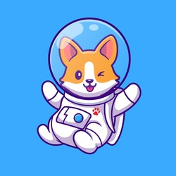 Cute Corgi Astronaut Flying Cartoon Vector Icon Illustration. Animal Science Icon Concept Isolated Premium Vector. Flat Cartoon Style
