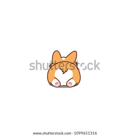 Cute corgi butt, vector illustration