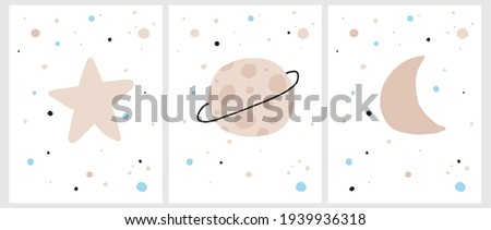 Cute Cosmos Vector Illustrations. Simple Hand Drawn Galaxy Print for Wall Art, Poster, Card. Infantile Style Cosmos with Little Stars, Moon and Platens Isolated on a White Background. Stockfoto ©
