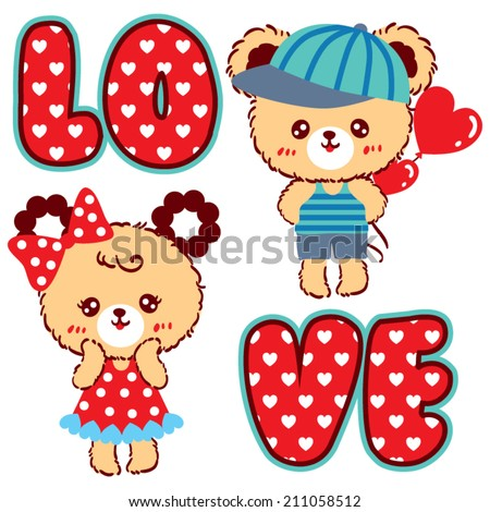 cute couple bear cartoon in