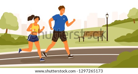 Cute couple dressed in sportswear running or jogging in park. Happy man and woman training outdoor together. Sports activity, healthy lifestyle. Colorful vector illustration in flat cartoon style.