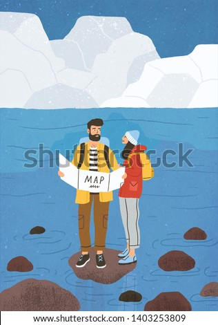 Cute couple in love performing outdoor touristic activity - adventure travel, hiking or backpacking. Pair of tourists, backpackers or friends on trip. Flat cartoon colorful vector illustration.