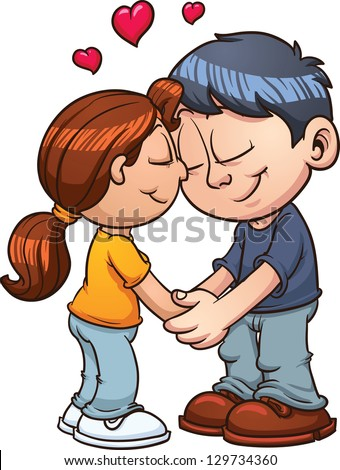 Cute Couple In Love. Vector Clip Art Illustration With ...