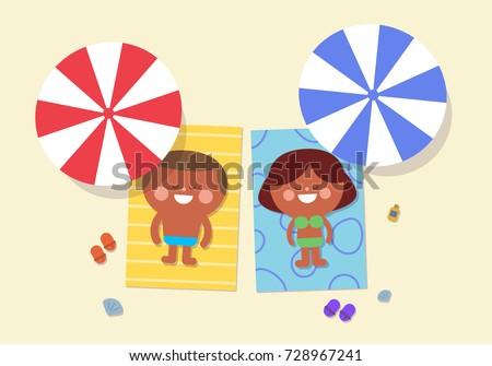 cute couple lying on the beach