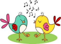 Cute couple of birds singing and dancing