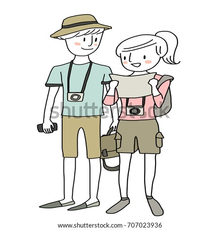 Cute couple of tourists discussing and checking location of a place to visit. Female tourist reading map for finding direction of tourist spot. Vector illustration with hand-drawn style.
