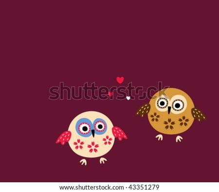 cute couple owl greeting card