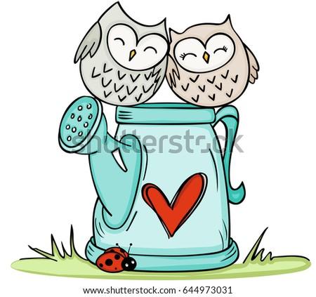 cute couple owls on love
