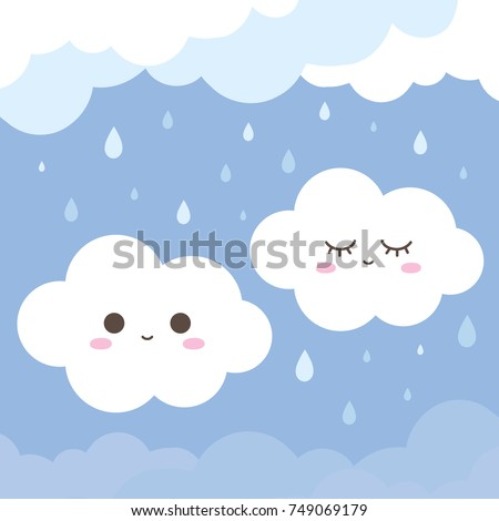 Cute couple smiling cloud on rainy background. vector illustration.
