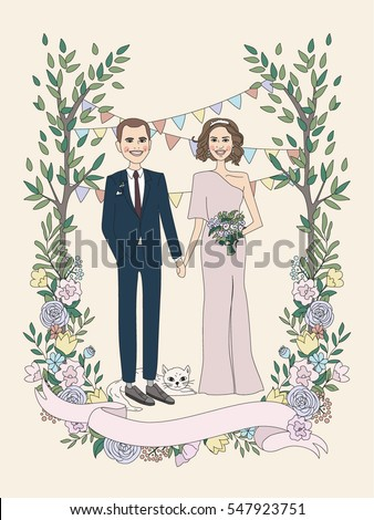 Cute couple. Wedding invitation with bride and groom and floral elements. Love and wedding cards. Romantic concept. Vector illustration #547923751