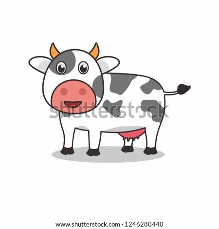 Cute cow cartoon illustration
