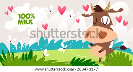 cute cow cartoon with butterfly