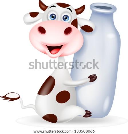 cute cow cartoon with milk