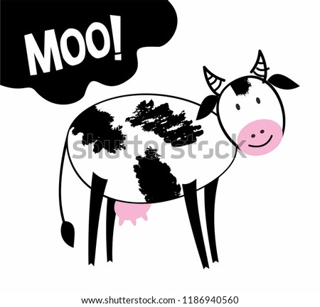 Cute cow ilustration in cartoon style with hand drawn Moo text