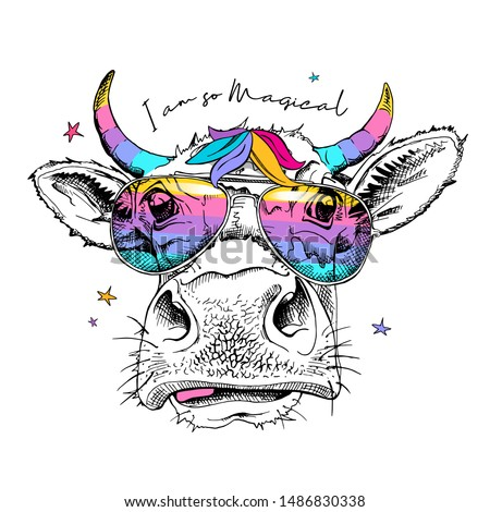 Cute cow in a rainbow glasses with a unicorn horns. I am so magical - lettering quote. Humor card, t-shirt composition, hand drawn style print. Vector illustration.