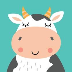 Cute cow portrait. Animal head flat vector illustration.