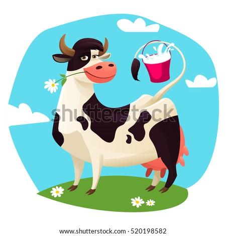 cute cow with milk bucket