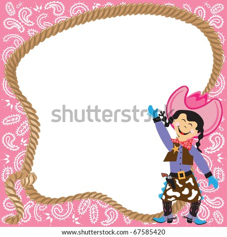 Cute Cowgirl Birthday Party Invitation with lasso and bandana border - stock vector