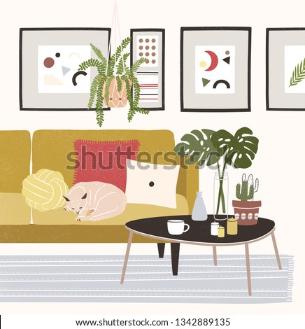 Cute cozy room with cat sleeping on comfy sofa, coffee table, potted plants, home decorations. Comfortable house or apartment decorated in modern Scandinavian hygge style. Flat vector illustration.