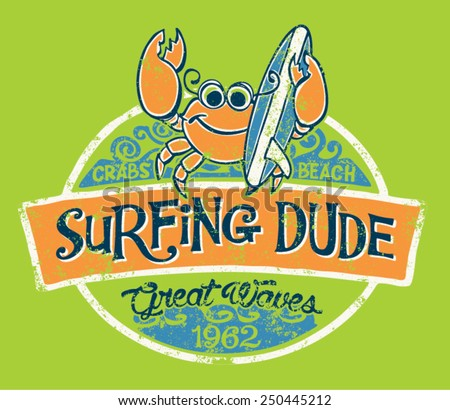 cute crab surfer  vector print