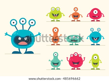 cute creature set   vector