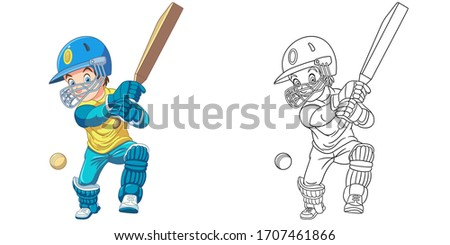 Cute cricket player, boy playing national British game. Coloring page and colorful clipart character. Cartoon design for t shirt print, icon, logo, label, patch or sticker. Vector illustration.