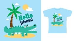 Cute crocodile beach design vector illustration ready for print on t-shirt, apparel, poster and other uses.