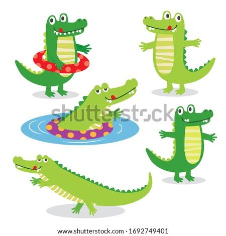 Cute Crocodile character sets, vector illustration