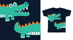 Cute crocodile design vector illustration ready for print on t-shirt, apparel, poster and other uses.