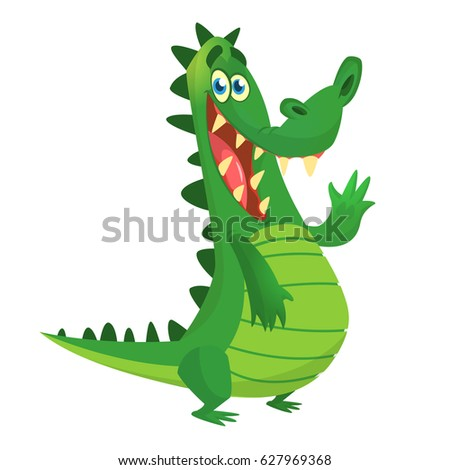 Cute crocodile or dinosaur waving cartoon. Vector character illustration. Great for banner, sticker, emblem, logo or children book illustration