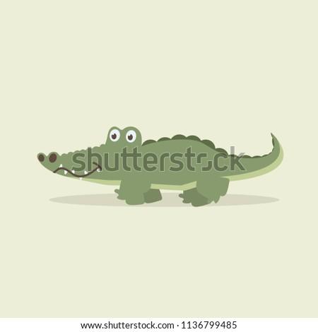 cute crocodile walking cartoon