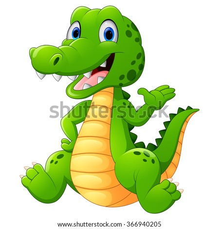 Cute crocodile waving hand