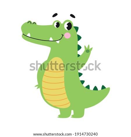 Cute Crocodile Waving its Paw, Funny Alligator Predator Green Animal Character Cartoon Style Vector Illustration